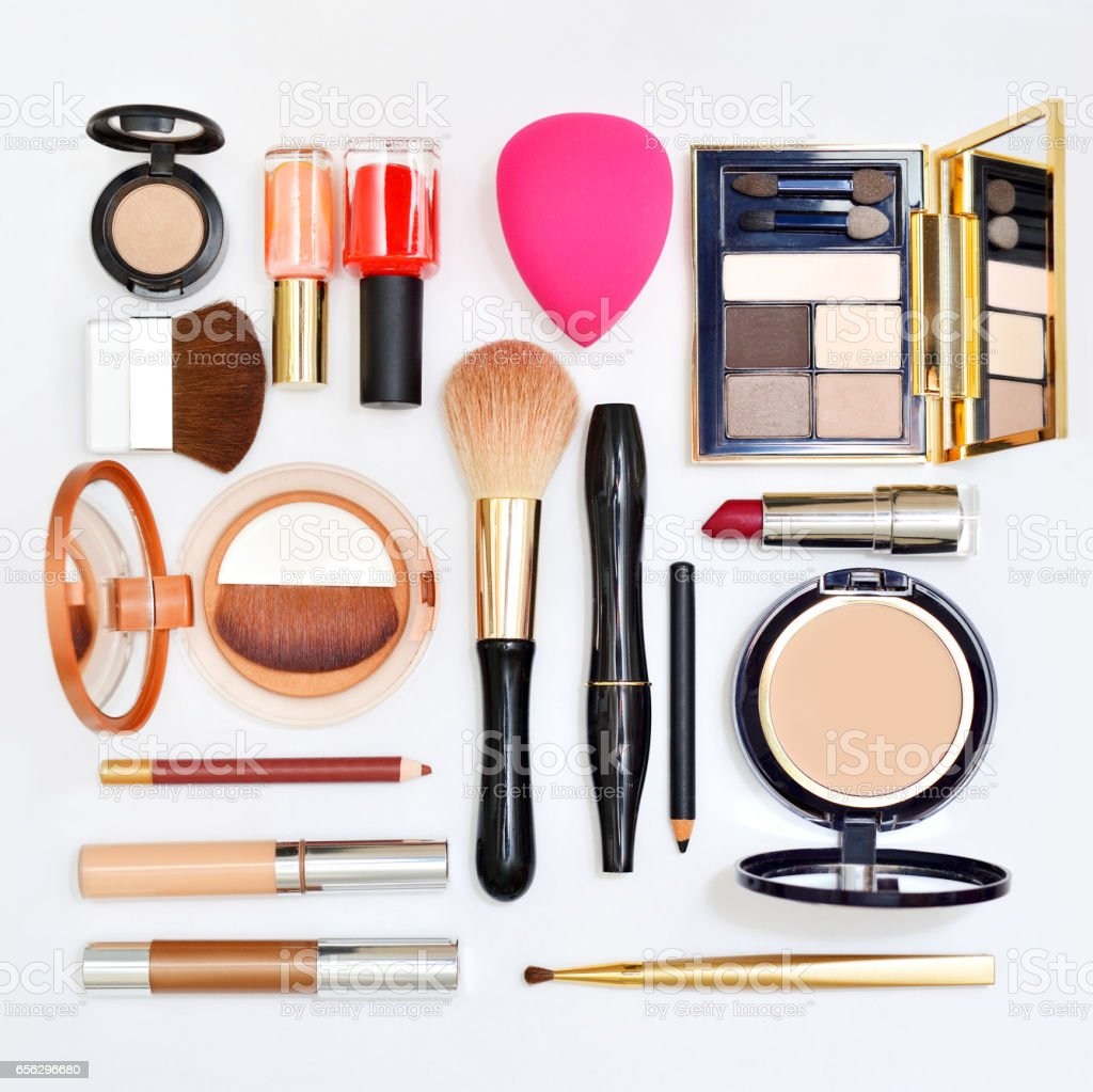 Make up products on wooden background stock photo