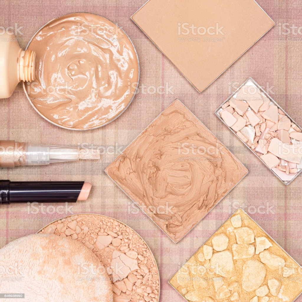 Make up products to even skin tone and complexion stock photo