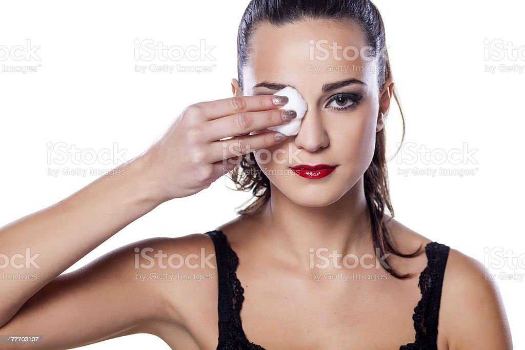 Remover maquiagem - Foto de stock de Adulto royalty-free
