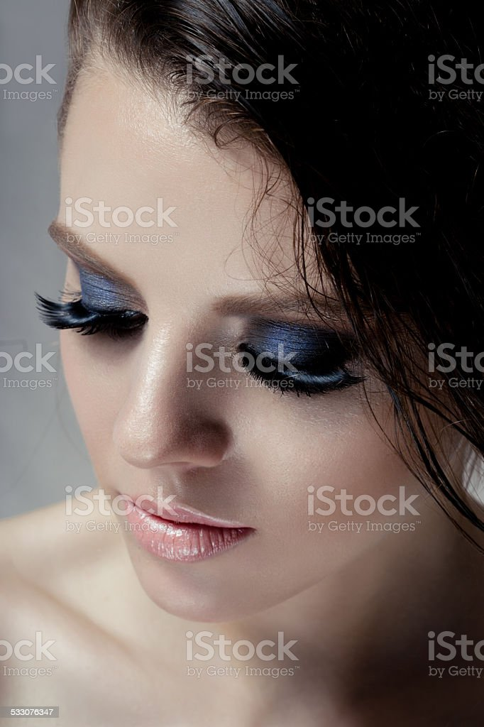 Make up smoky eyes. Close eyes stock photo