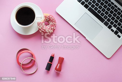 istock Make up stuff mixed with work tools 636097846