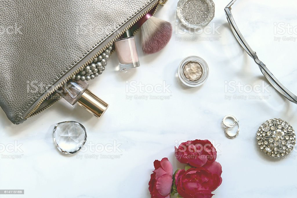 Make up table contents stock photo