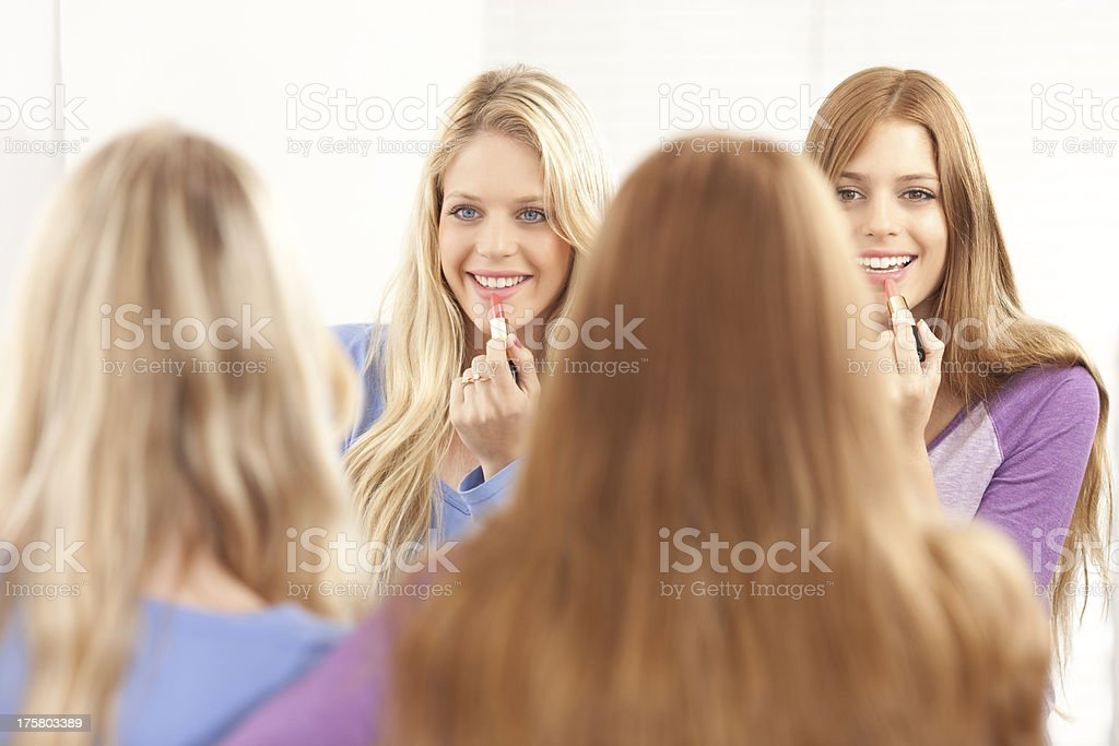 Make up with best friend. royalty-free stock photo