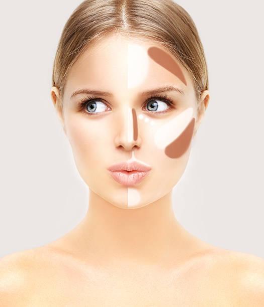 make-up frau gesicht. contour und die highlight-make-up. - gesicht make up anleitungen stock-fotos und bilder