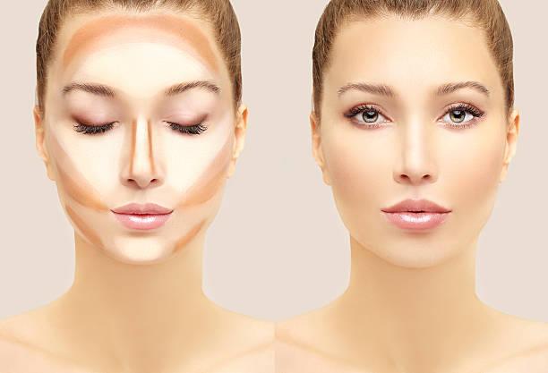 make up woman face. contour and highlight makeup. - 外型 個照片及圖片檔