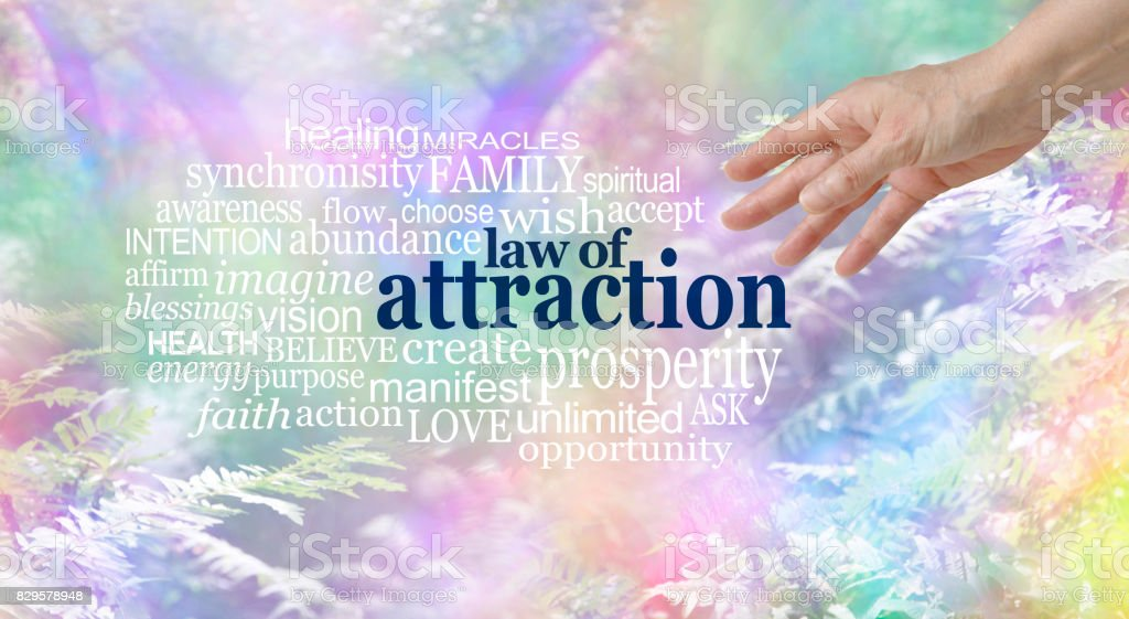 Make use of the Law of Attraction Word Cloud stock photo