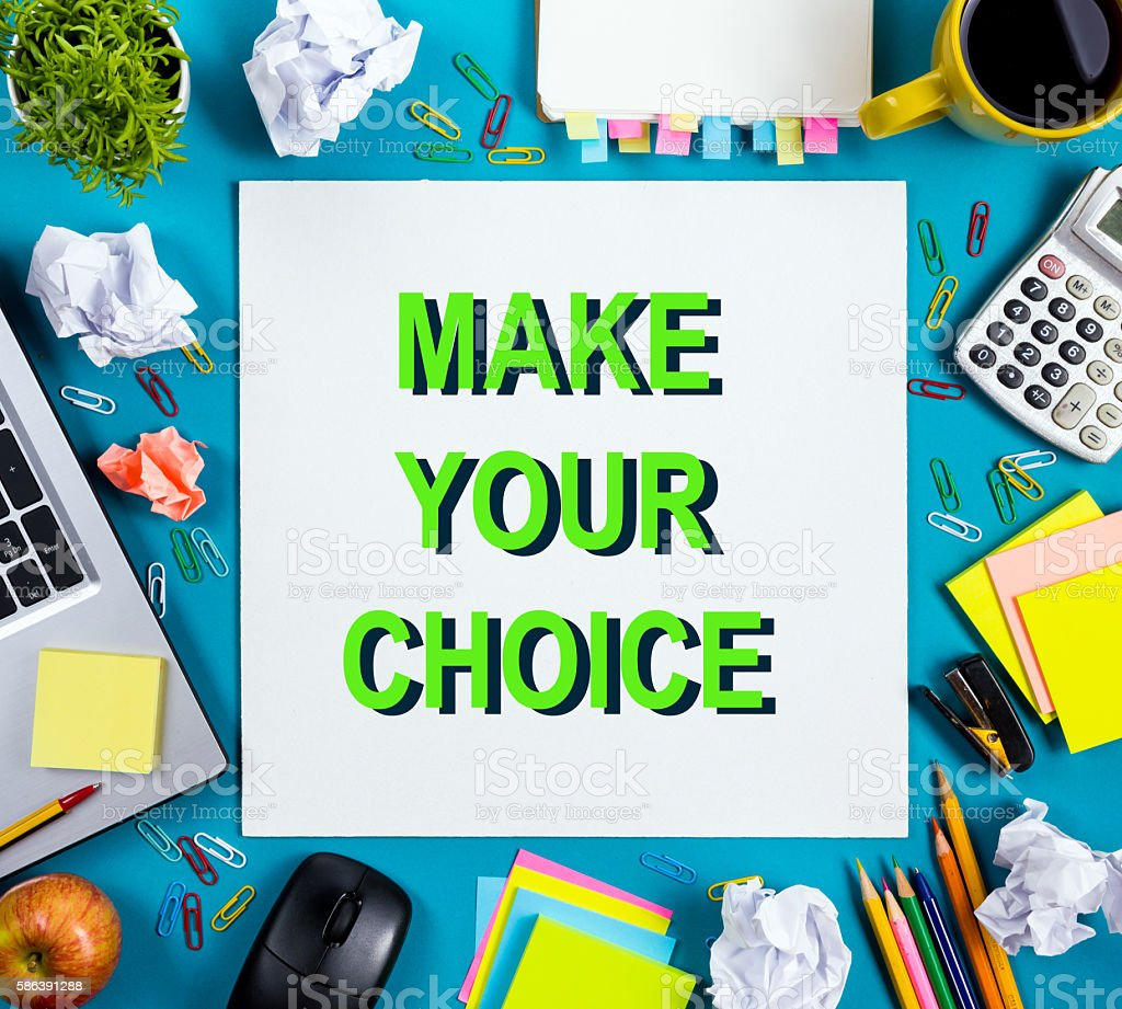 Make your choice. Office table desk with supplies, white blank stock photo