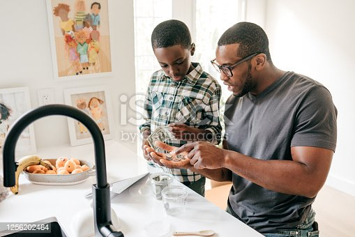 Dad Teaching Basic Money Concepts to his son in the kitchen