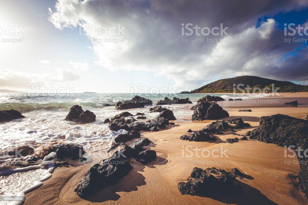 makena or big beach on maui island, hawaii islands stock photo