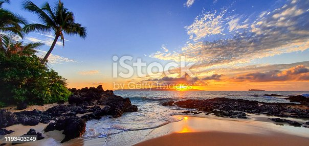 Makena Secret Beach at sunset in Maui, Hawaii