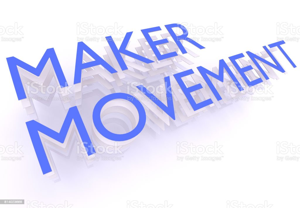 Maker Movement, words in blue letters on white background, 3d rendering - Stock image .