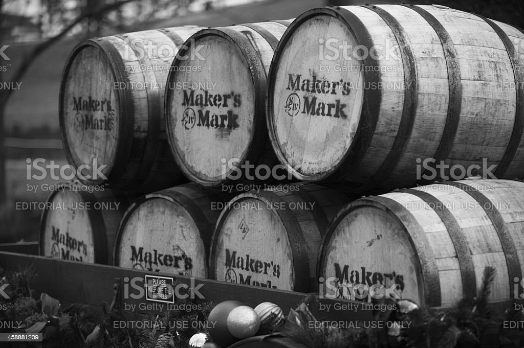 Maker's Mark Barrels on a Wagon in Kentucky stock photo