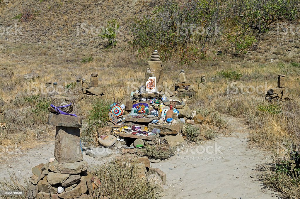 Makeshift Altar to Shiva in Crimean mountains. stock photo