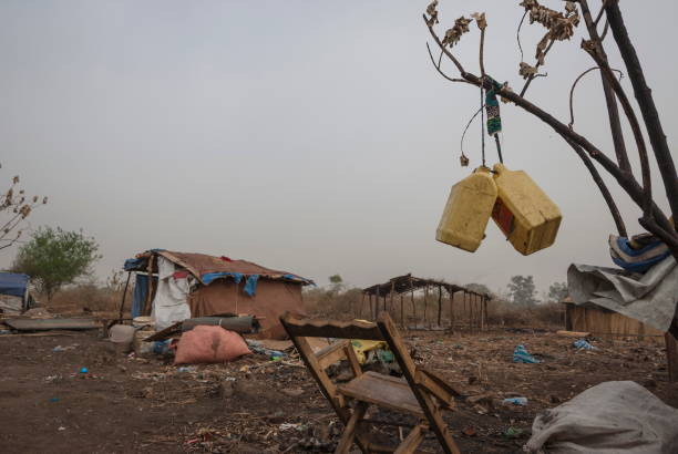Makeshift camp for displaced persons in Juba, South Sudan. stock photo