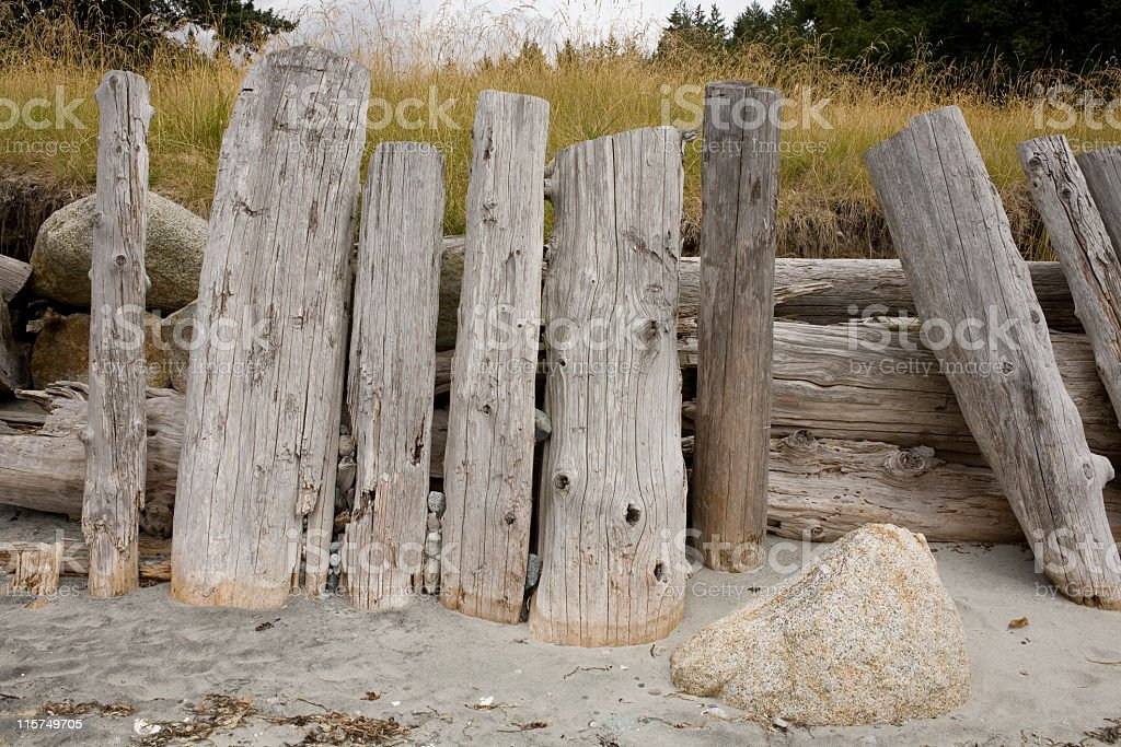 Makeshift retaining wall by a beach. royalty-free stock photo
