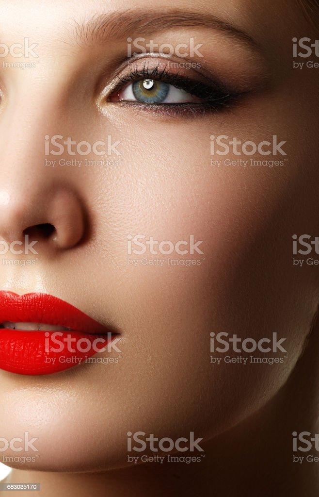 Make-up and cosmetics. Beauty woman face. Beautiful model girl m foto de stock royalty-free