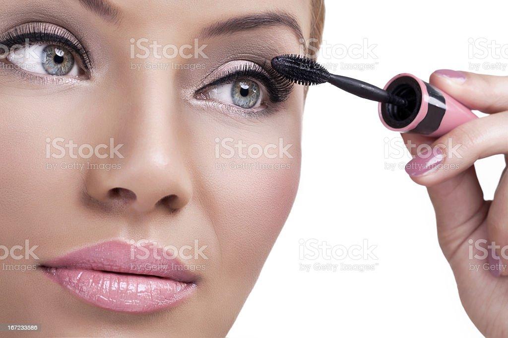 Make-up, applying mascara royalty-free stock photo