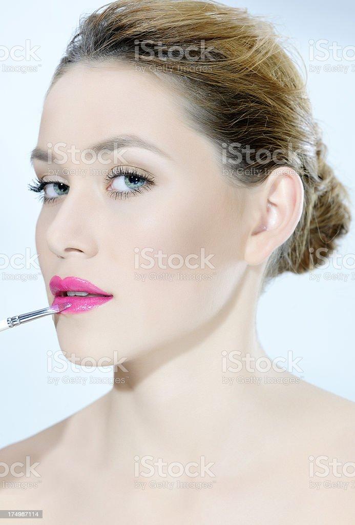 makeup applying royalty-free stock photo