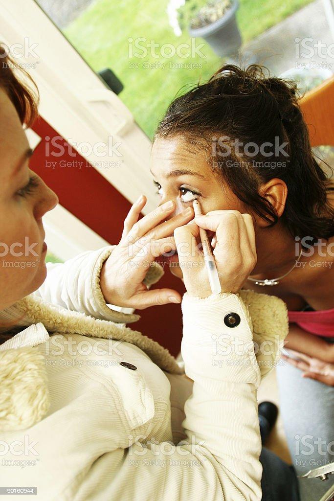 Makeup Artist Applying Mascara royalty-free stock photo