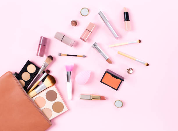 makeup bag with cosmetic products - make up stock pictures, royalty-free photos & images