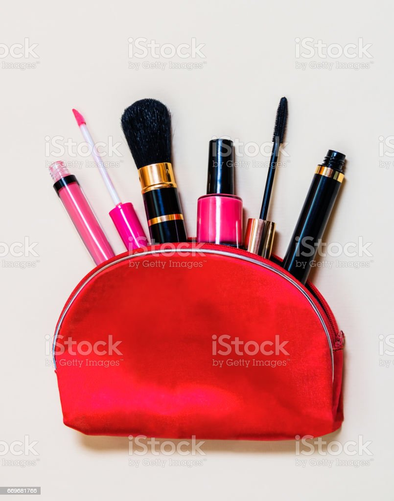 Makeup bag with cosmetic products stock photo