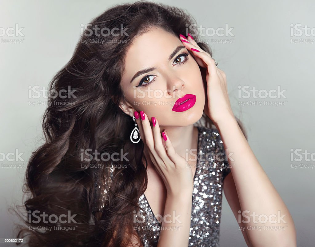 Makeup. Beautiful girl portrait. Long hair. Brunette fashion stock photo