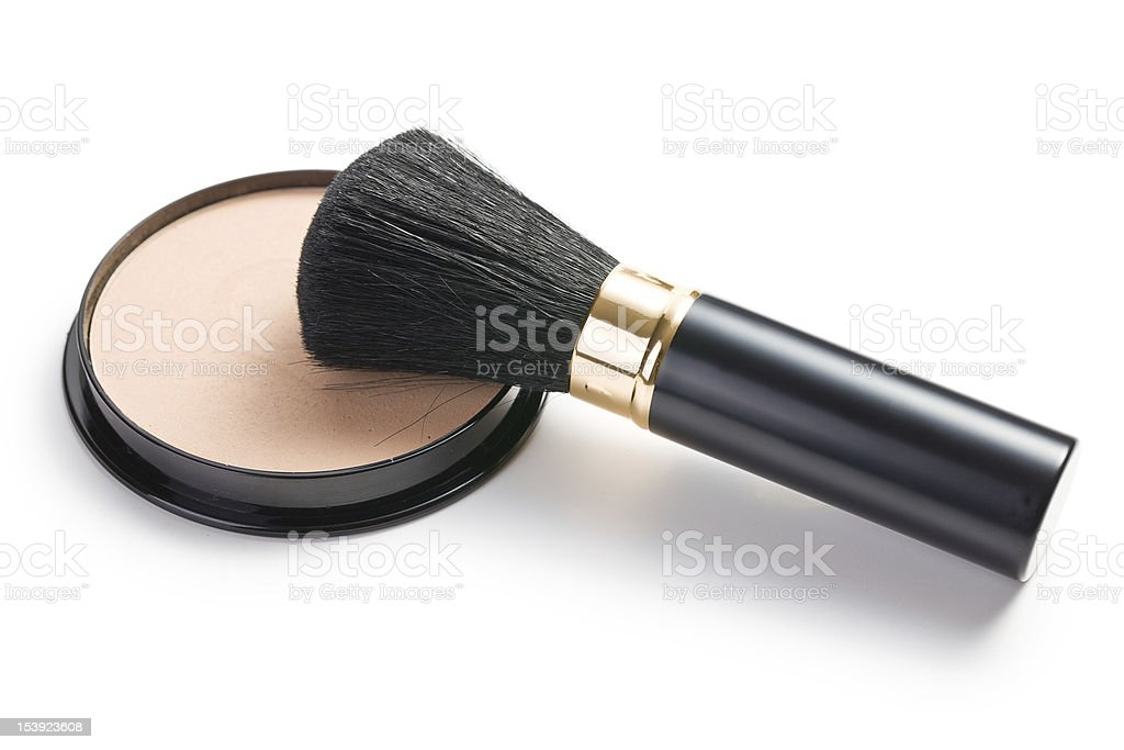 makeup brush and cosmetic powder compact stock photo