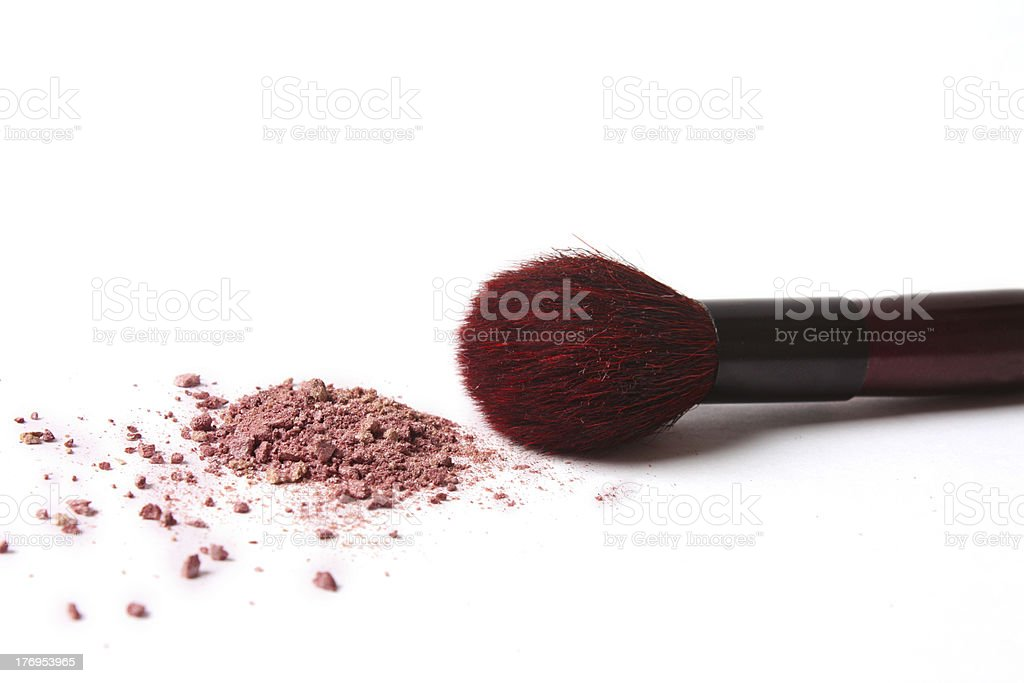 makeup brush and cosmetic powder royalty-free stock photo