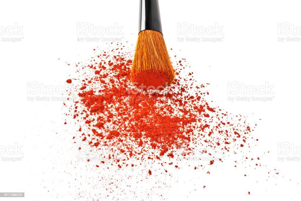 Make-up brush and powder isolated on white background stock photo
