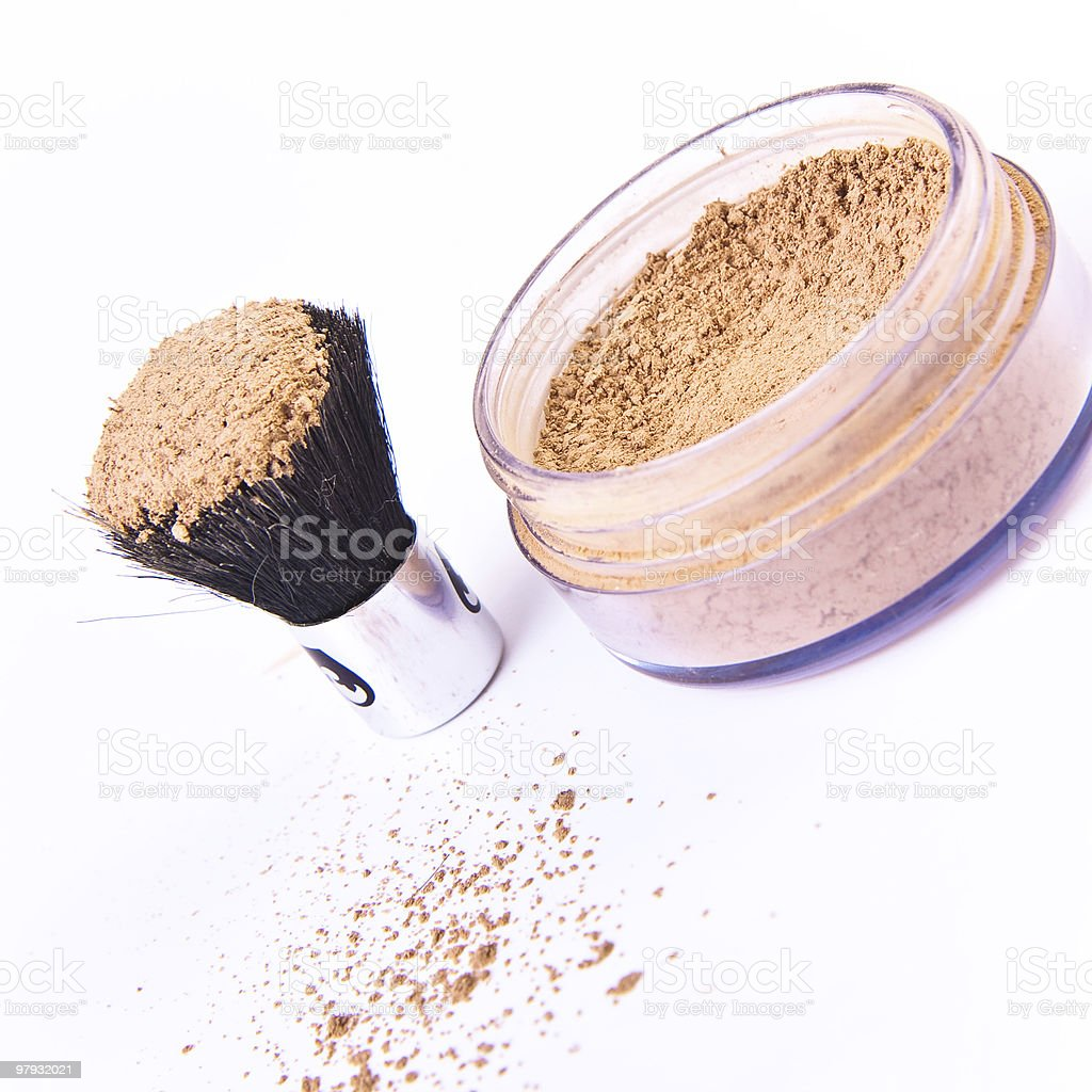 makeup brush and powder royalty-free stock photo