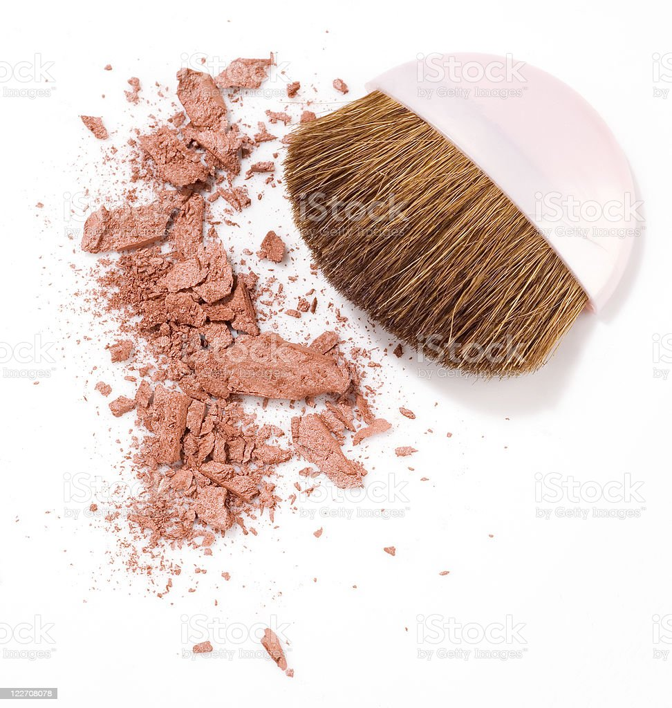 A makeup brush and powdered rouge on a white background royalty-free stock photo