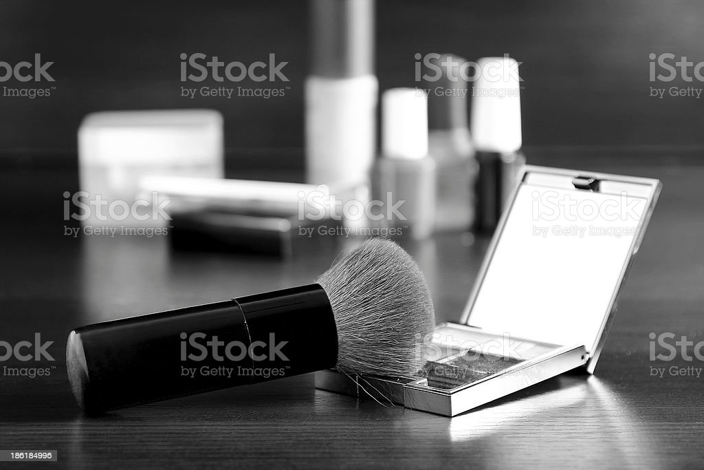 Makeup brush, black&white royalty-free stock photo