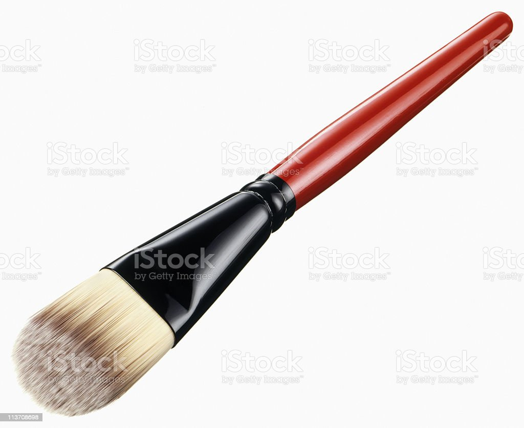make-up brush cut out on white stock photo