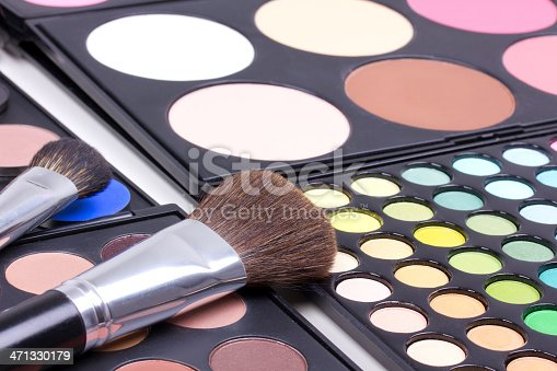 istock Make-up brush on blush palettes, backstage 471330179