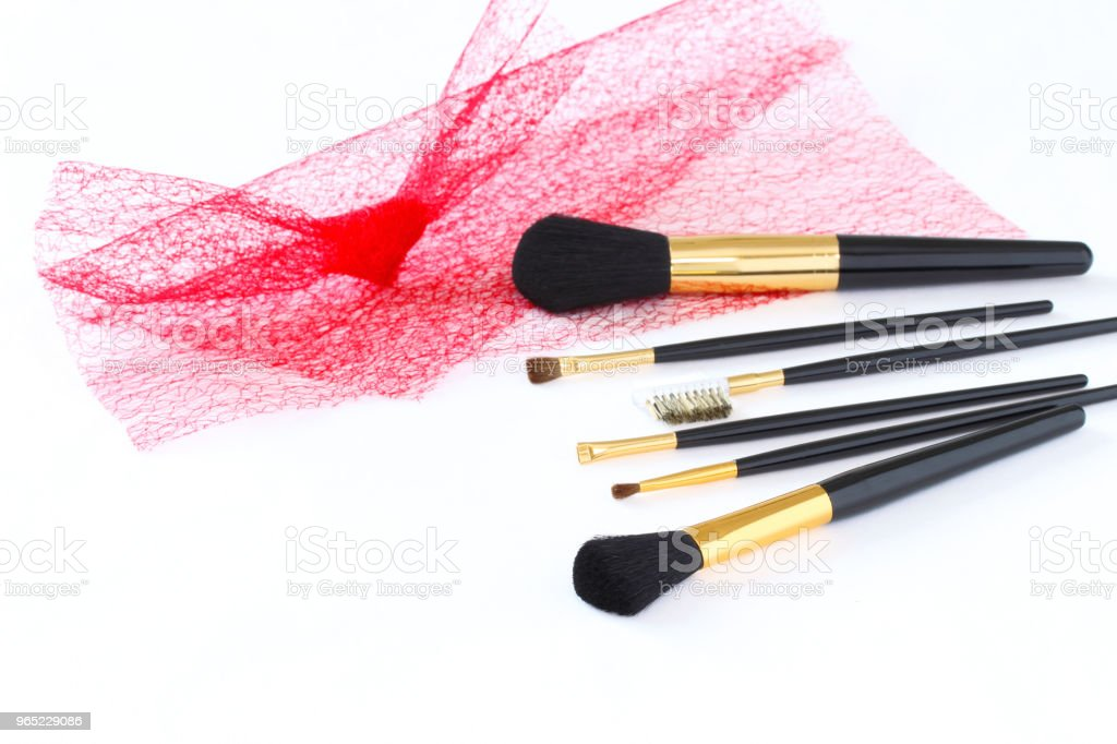 make-up brush set  and red tulle zbiór zdjęć royalty-free