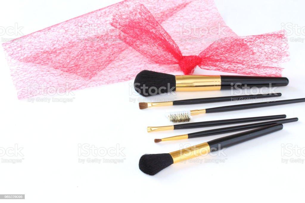 make-up brush set  and red tulle zbiór zdjęć royalty-free