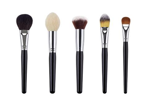 Makeup brush set. Isolated. White background.