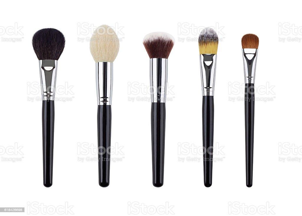 Makeup brush set. Isolated. White background stock photo