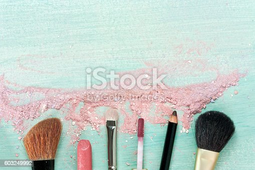 Makeup brushes and lipstick on a teal blue background, with traces of powder and blush on it. A horizontal template for a makeup artist's business card or flyer design. With plenty of copyspace