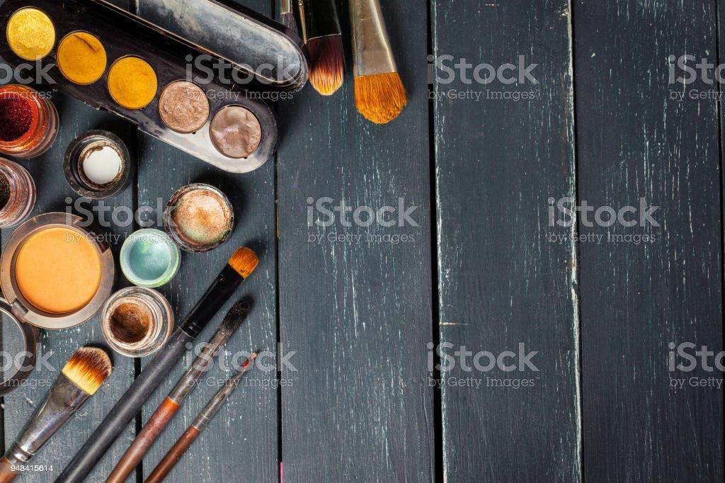 Makeup Brushes And Make Up Eye Shadows Royalty Free Stock Photo