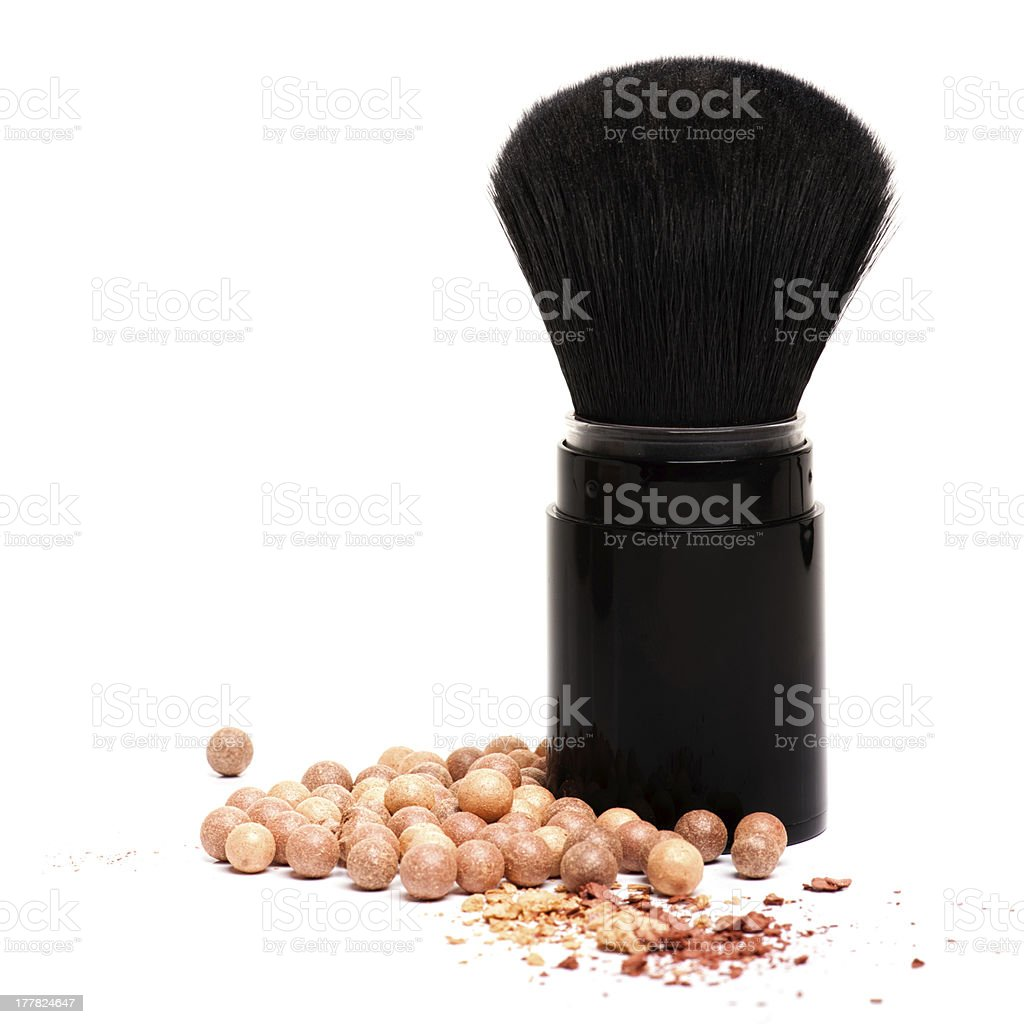 Makeup brushes and powder isolated on white royalty-free stock photo