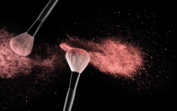 Make-up brushes background stock photo