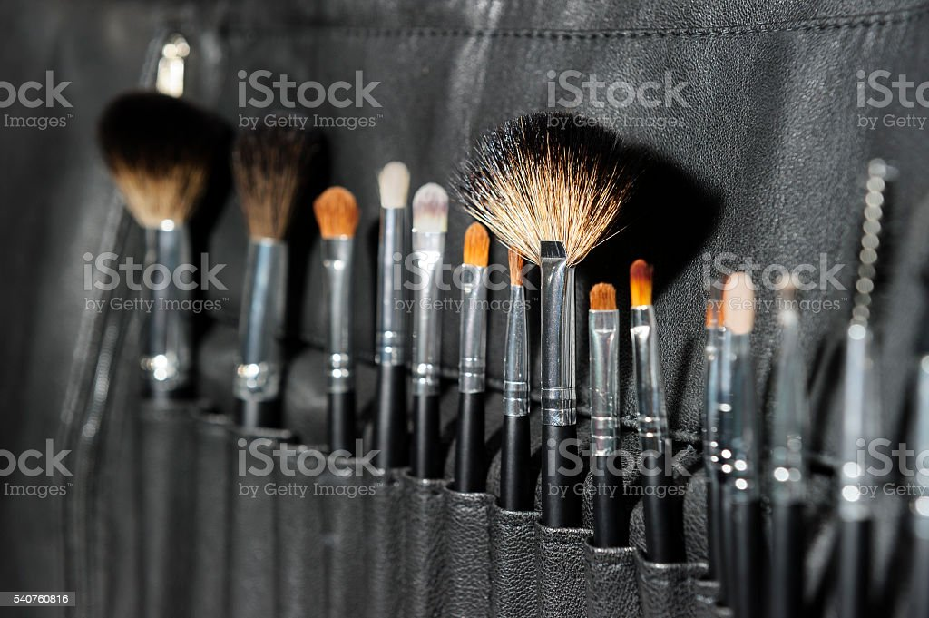 Makeup brushes for professionals stock photo