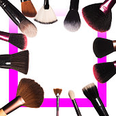 makeup brushes isolated on a white background