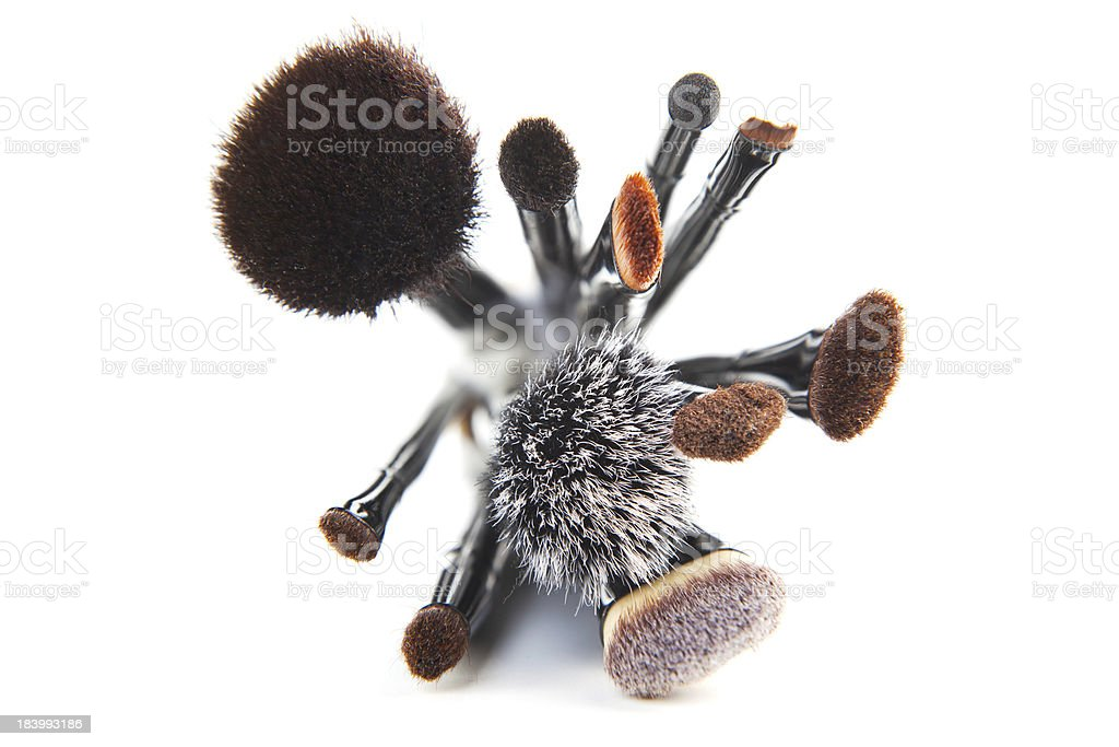 Makeup brushes on a white background royalty-free stock photo