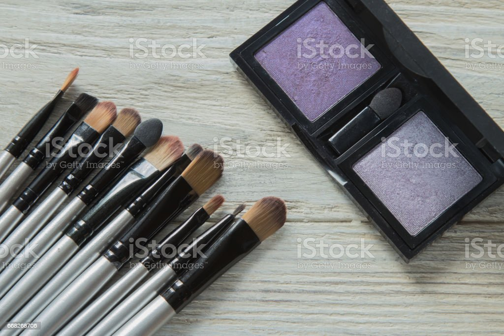 Makeup brushes on background foto stock royalty-free