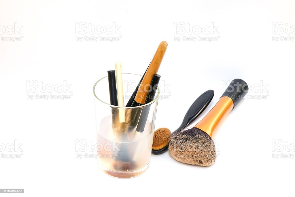 Makeup brushes on white background stock photo