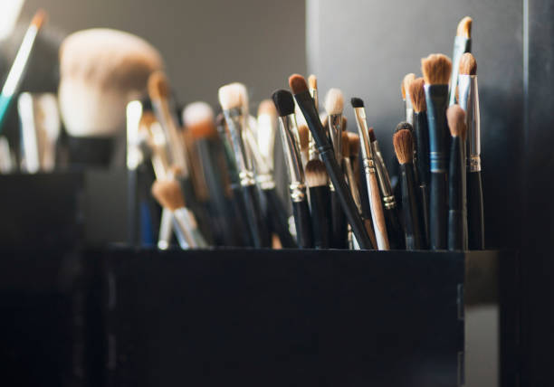 Makeup Brushes All sorts of make-up brushes. ceremonial make up stock pictures, royalty-free photos & images