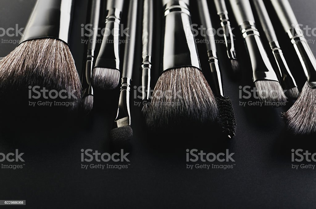 Makeup brushes set close-up on a black background horizontal, sp stock photo
