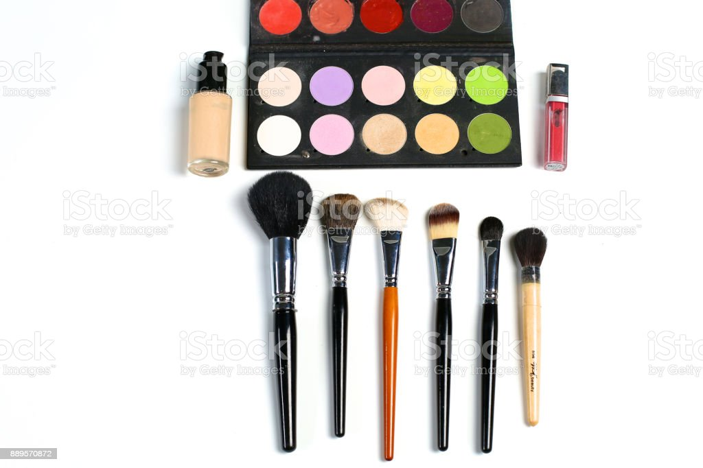 makeup brushes set for professional on white background stock photo